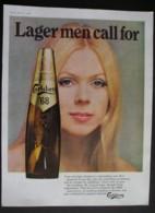 CARLSBERG 68 LAGER . ORIGINAL  1969 MAGAZINE ADVERT - Advertising