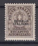 Italy Colonies Somalia 1939 Recapito Autorizzato Sassone#1 Mint Hinged - Somalia