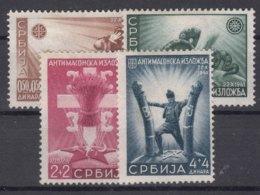 Germany Occupation Of Serbia - Serbien 1942 Anti Masonic Stamps Mi#58-61 Mint Hinged, Gum Disturbance - Occupation 1938-45