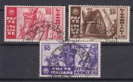 Italy Kingdom 1935 Sassone#377-379 Mi#520-522 Used - 1900-44 Victor Emmanuel III