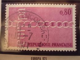"""1970-79-timbre Oblitéré N°  1677   """"  Europa 0.80 Rouge     """"    0.70 - France"""