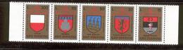 SAN MARINO 1974 Crossbow Tournament, Coats Of Arms Scott Cat. No(s). 847a MNH Strip Of 5 - Saint-Marin