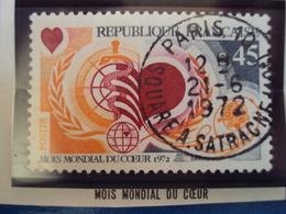 """1970-79-timbre Oblitéré N° 1711    """"  Mois Mondial Du Coeur     """"     0.50 - France"""