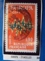 """1970-79-timbre Oblitéré N°  1715   """" Europa, Rouge étincelle      """"   0.50 - France"""