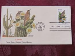 USA 1982 FDC Cover Washington - Arizona State Bird And Flower - Cactus - Etats-Unis