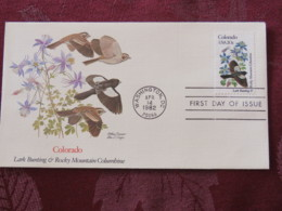 USA 1982 FDC Cover Washington - Colorado State Bird And Flower - Lettres & Documents