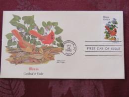 USA 1982 FDC Cover Washington - Illinois State Bird And Flower - Cardinal - Violet - Etats-Unis