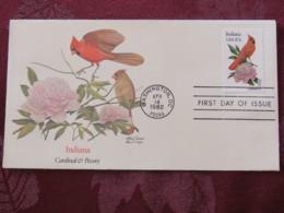 USA 1982 FDC Cover Washington - Indiana State Bird And Flower - Cardinal - Peony - United States