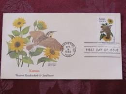 USA 1982 FDC Cover Washington - Kansas State Bird And Flower - Etats-Unis