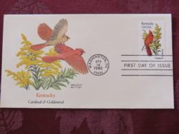USA 1982 FDC Cover Washington - Kentucky State Bird And Flower - Cardinal - Etats-Unis