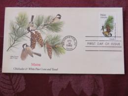 USA 1982 FDC Cover Washington - Maine State Bird And Flower - Pine - Etats-Unis