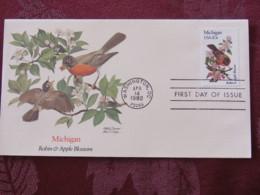 USA 1982 FDC Cover Washington - Michigan State Bird And Flower - Apple - Robin - Etats-Unis