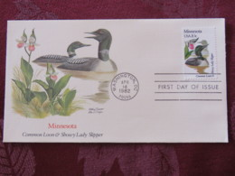 USA 1982 FDC Cover Washington - Minnesota State Bird And Flower - Duck Loon - Lady Slipper Orchid - Etats-Unis