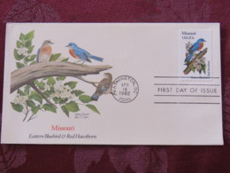 USA 1982 FDC Cover Washington - Missouri State Bird And Flower - Bluebird - Etats-Unis