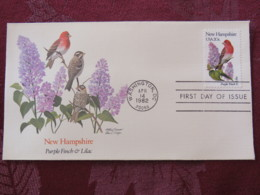 USA 1982 FDC Cover Washington - New Hampshire State Bird And Flower - Finch - Lilac - Etats-Unis