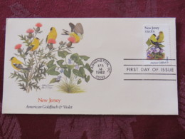 USA 1982 FDC Cover Washington - New Jersey State Bird And Flower - Goldfinch - Violet - Etats-Unis