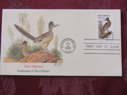 USA 1982 FDC Cover Washington - New Mexico State Bird And Flower - Roadrunner - Yucca - Etats-Unis