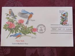 USA 1982 FDC Cover Washington - New York State Bird And Flower - Bluebird - Rose - Etats-Unis