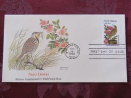 USA 1982 FDC Cover Washington - North Dakota State Bird And Flower - Rose - Etats-Unis