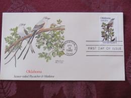 USA 1982 FDC Cover Washington - Oklahoma State Bird And Flower - Flycatcher - Mistletoe - Etats-Unis