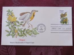 USA 1982 FDC Cover Washington - Oregon State Bird And Flower - Meadowlark - Grape - Etats-Unis