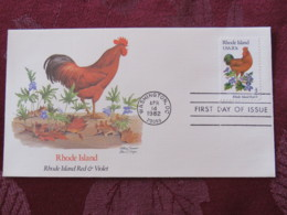 USA 1982 FDC Cover Washington - Rhode Island State Bird And Flower - Rooster - Violet - Etats-Unis
