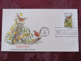 USA 1982 FDC Cover Washington - South Carolina State Bird And Flower - Wren - Jessamine - United States
