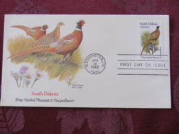 USA 1982 FDC Cover Washington - South Dakota State Bird And Flower - Pheasant - Pasqueflower - Etats-Unis
