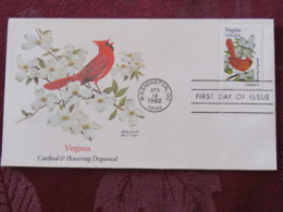 USA 1982 FDC Cover Washington - Virginia State Bird And Flower - Cardinal - Dogwood - Etats-Unis