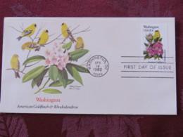 USA 1982 FDC Cover Washington - Washington State Bird And Flower - Goldfinch - Rhododendron - Etats-Unis