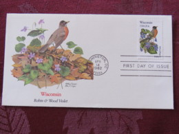 USA 1982 FDC Cover Washington - Wisconsin State Bird And Flower - Robin - Violet - Stati Uniti