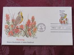 USA 1982 FDC Cover Washington - Wyoming State Bird And Flower - Etats-Unis