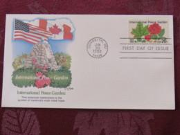 USA 1982 FDC Cover Dunseith - International Peace Garden - Canada - Roses - Etats-Unis