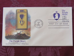 USA 1982 FDC Stationery Cover Washington - The Purple Heart - Medal To Military Merit - Legacy Of George Washington - Etats-Unis