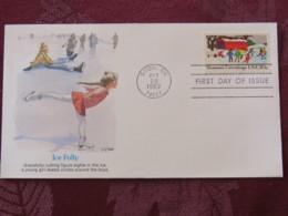 USA 1982 FDC Cover Snow - Season'sGreetings - Ice Folly - Skating - Stati Uniti