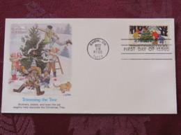 USA 1982 FDC Cover Snow - Season'sGreetings - Trimming The Tree - Cat - Etats-Unis