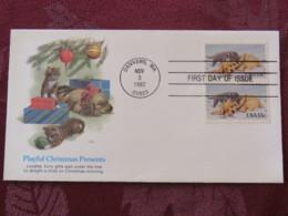 USA 1982 FDC Cover Danvers - Christmas Presents - Cat - Dog - Etats-Unis