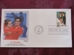 USA 1984 FDC Cover Lake Placid - Olympic Games - Ice Dancing Skating - Lettres & Documents