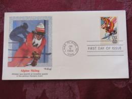 USA 1984 FDC Cover Lake Placid - Olympic Games - Alpine Skiing Ski - Stati Uniti