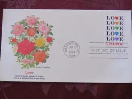 USA 1984 FDC Cover Washington - Love - Flowers - Roses - Stati Uniti