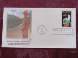 USA 1984 FDC Cover Denver - Soil And Water Conservation - Hand With Flower - Lettres & Documents