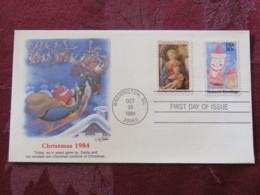 USA 1984 FDC Cover Washington - Christmas - Virgin And Child By Fra Filippo Lippi And Santa - Sledge - Lettres & Documents