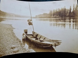 PHOTO ORIGINALE _ VINTAGE SNAPSHOT : BARQUE _ FLEURIEU Sur SAONE Près De LYON _ CIRCA 1890 - Photographs