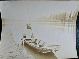 PHOTO ORIGINALE _ VINTAGE SNAPSHOT : BARQUE _ FLEURIEU Sur SAONE Près De LYON _ CIRCA 1890 - Photos