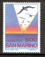 SAN MARINO 1985 Emigration Scott Cat. No(s). 1088 MNH - San Marino