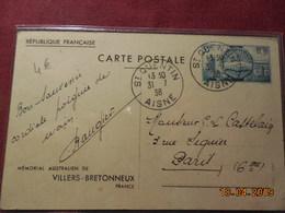 Entier Postal De 1938 (mémorial Australien De Villers-Bretonneux) - Ganzsachen