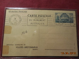 Entier Postal De 1938 (mémorial Australien De Villers-Bretonneux) Oblitération Intéressante - Ganzsachen