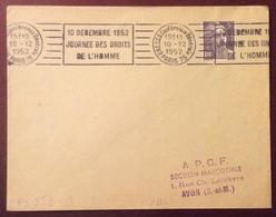 PS253-1 Unesco Conférence Générale Paris 75 «10 Décembre 1952 Journée Droits De L'Homme» Marianne Gandon 883 10/12/1952 - Postmark Collection (Covers)