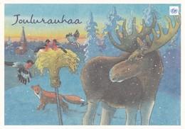 Birds - Bullfinches On Oatmeal - Moose - Fox In Winter Landscape - (Bullfinch In Stamp) - Suomi Finland 2000 - Unicef - Oiseaux
