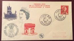 PS241-1 «Premier Jour Visite Reine D'Angleterre à Paris» Paris R.P. Philatélie 8/4/1957 Marianne Muller 1009A - 1921-1960: Période Moderne